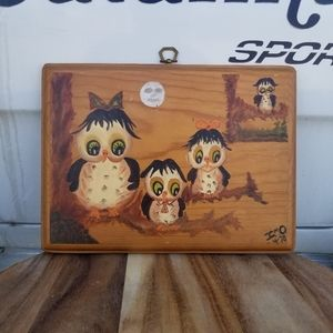 Vintage Hand Painted Owl Family Wood Wall Hang